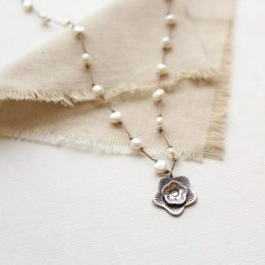Layered Cactus Flower Pearl Knotted Necklace Sarah Deangelo