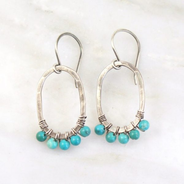 Turquoise Wrapped Hammered Earrings Sarah Deangelo