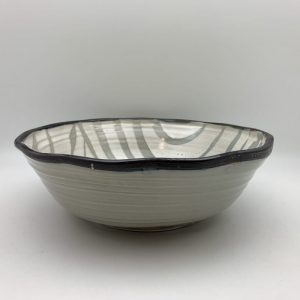 Large Striped-Design Porcelain Bowl by Margo Brown