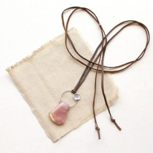 Cactus Flower Pink Amethyst Leather Necklace Sarah Deangelo