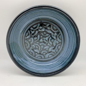Blue Patterned Pie Plate by Margo Brown