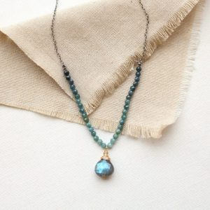 Blue Tourmaline & Labradorite Knotted Necklace Sarah Deangelo