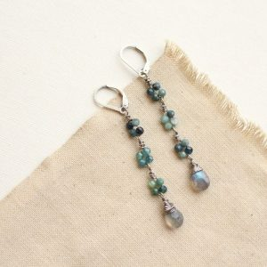 Blue Tourmaline & Labradorite Long Earrings Sarah Deangelo