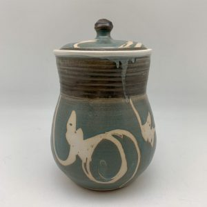 Turquoise, Brown and White Cookie Jar by Margo Brown