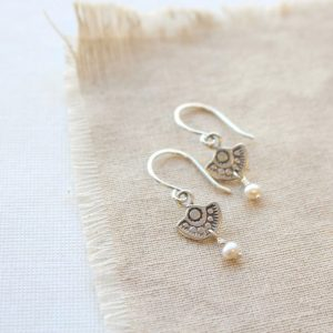 Wanderer Mini Charm Pearl Dangle Earrings Sarah Deangelo