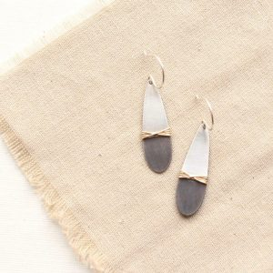 Dipped Teardrop Mixed Metal Earrings Sarah Deangelo