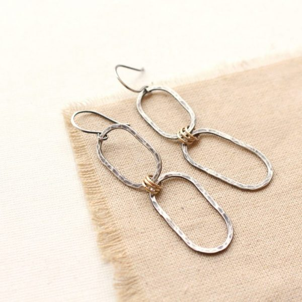 Hammered Mixed Metal Linked Oval Earrings Sarah Deangelo