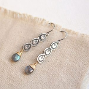Peacock Labradorite Drop Earrings Sarah Deangelo