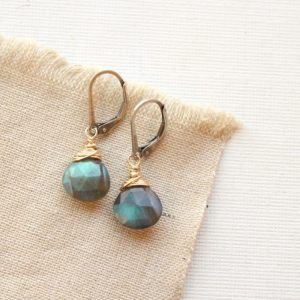 Mixed Metal Labradorite Drop Earrings Sarah Deangelo
