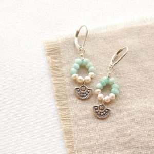 Wanderer Mini Pearl & Amazonite Loop Earrings Sarah Deangelo