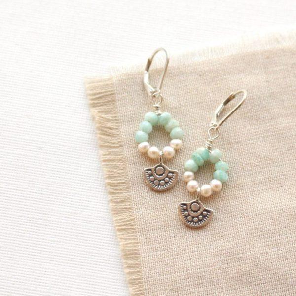 Wanderer Mini Pearl & Amazonite Loop Earrings Sarah Deangelo