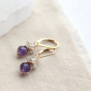 Amethyst and Labradorite Cluster Earrings Sarah Deangelo
