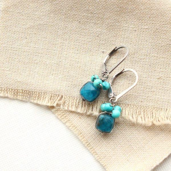 Apatite & Turquoise Cluster Earrings Sarah Deangelo