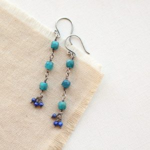 Apatite & Lapis Long Earrings Sarah Deangelo