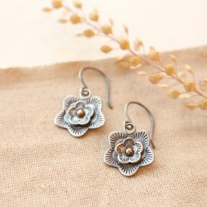 Layered Cactus Flower Mixed Metal Earrings Sarah Deangelo