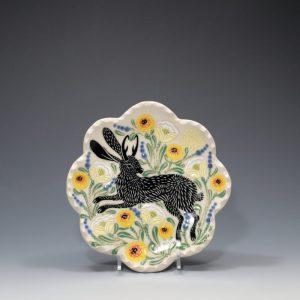 Black Jackalope Petal Plate Sue Tirrell
