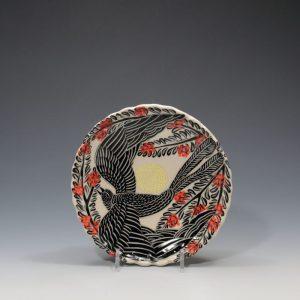 Black Bird Dessert Plate Sue Tirrell