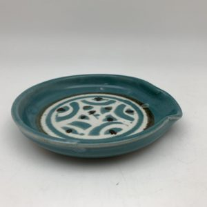 Turquoise Dotted Spoon Rest by Margo Brown - 1839
